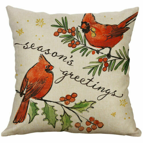 Pillow Decor Cover Throw 18/'/' Case Home Birds Gift Xmas Cushion Christmas Waist