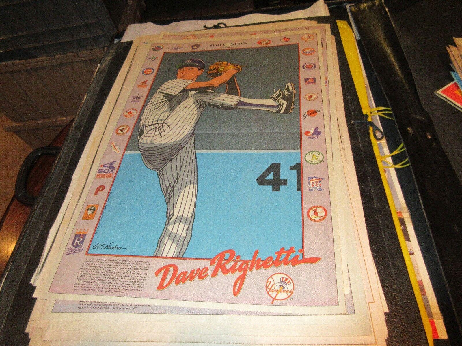Dave Righetti , NY Yankees , NY Daily News , Newspaper