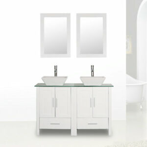 48 Double Sink Bathroom Vanity Cabinet Combo White Glass Top W