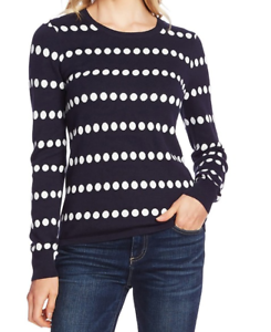 Vince-Camuto-Polka-Dot-Jacquard-Crewneck-Cotton-Blend-Sweater-XS-Blue-White-NWT