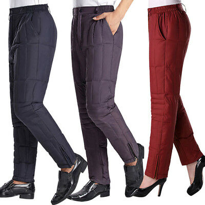 Men Women Winter Pants Duck Down Filling Warm Comfort Trousers Cold-Resistant