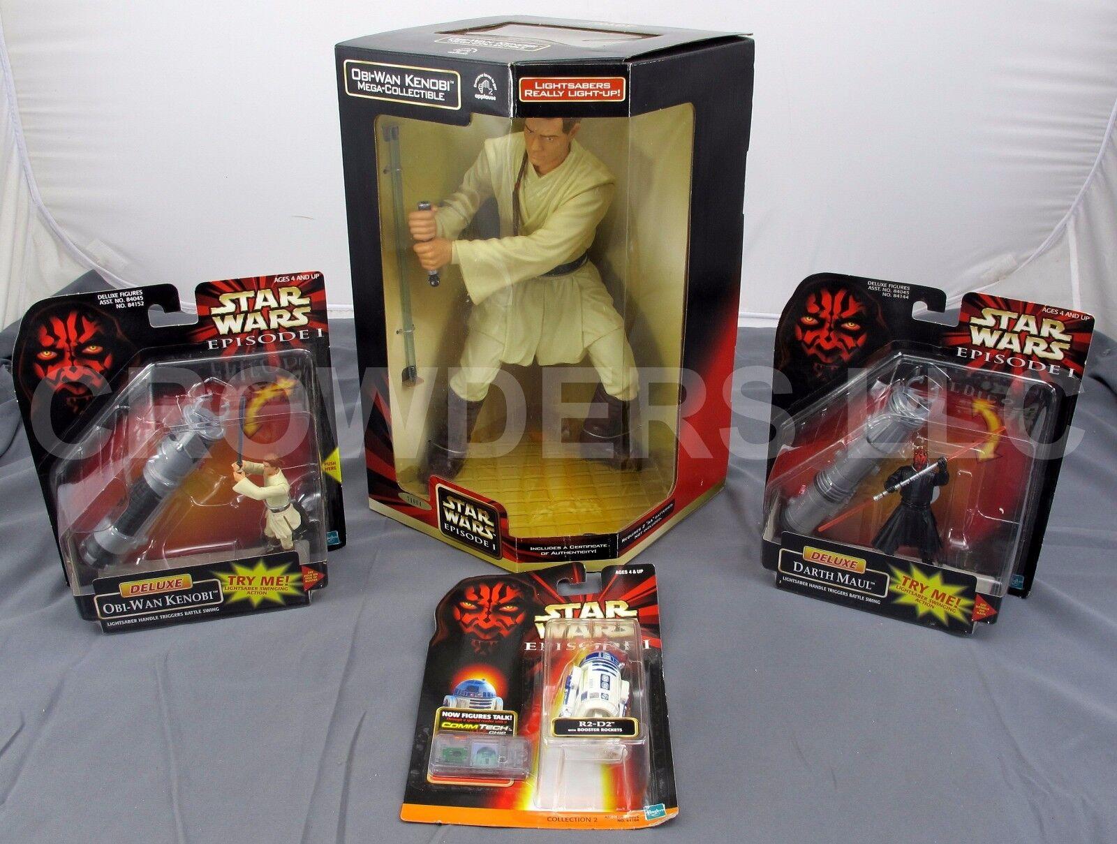 Star Wars Obi Wan Kenobi Mega Collectible Deluxe Darth Maul & OWK + R2D2 NIP '98