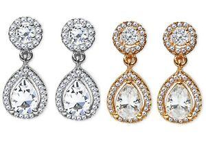 CZ-Diamante-Drop-Dangle-Clip-On-Earrings-Crystal-Bridal-Non-Pierced-Oval-UK