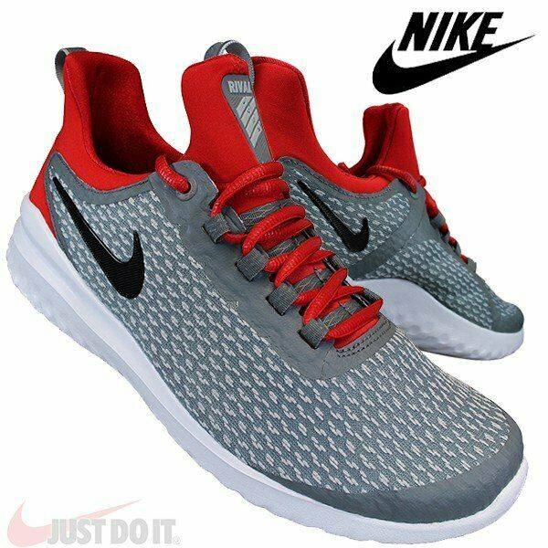 Mens Nike Rerival Size 14 Cool Grey Red Running Shoes