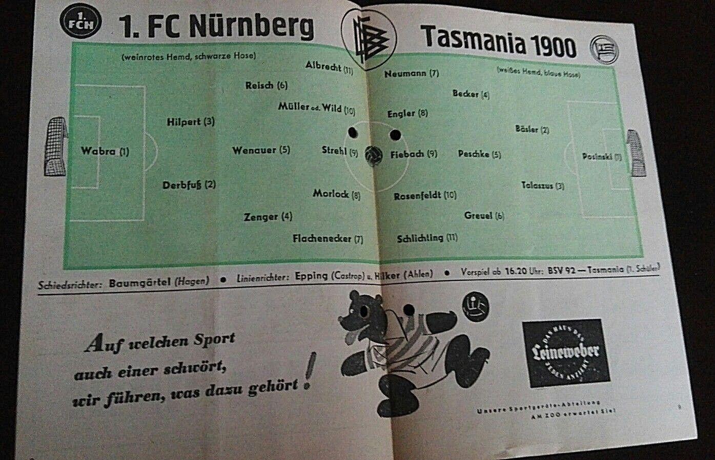 Programm 21.4.1962 Tasmania Berlin 1.FC Nürnberg Meisterschaft FCN FCN FCN Stadionheft d7e47d