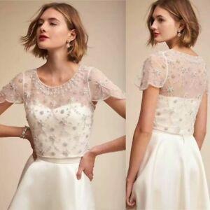 Luxury-Beaded-Crystals-Wedding-Bridal-Boleros-Jackets-White-Ivory-Top-Cap-Sleeve