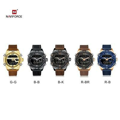 NAVIFORCE NF9128 Waterproof Quartz Wrist Watch Male Leather Band LED Watch P1O6
