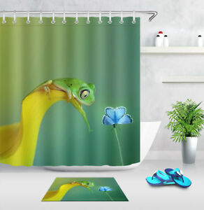 Image Is Loading Frog Hunt Butterfly Bathroom Decor Waterproof Fabric Shower