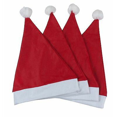 PACK OF 6 x CHRISTMAS XMAS NOVELTY SANTA HATS BOBBLE RED OFFICE HOME PARTY GIFT