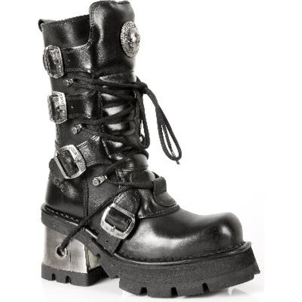 NEWROCK New Rock Rock Rock Mujeres botas 373 S33 Negro - Punk Gótico botas de Cuero  deportes calientes