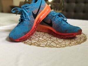 28648695ac838 Nike Flyknit Max Vivid Blue Black Gym Red Atomic Orange SZ 11 ...