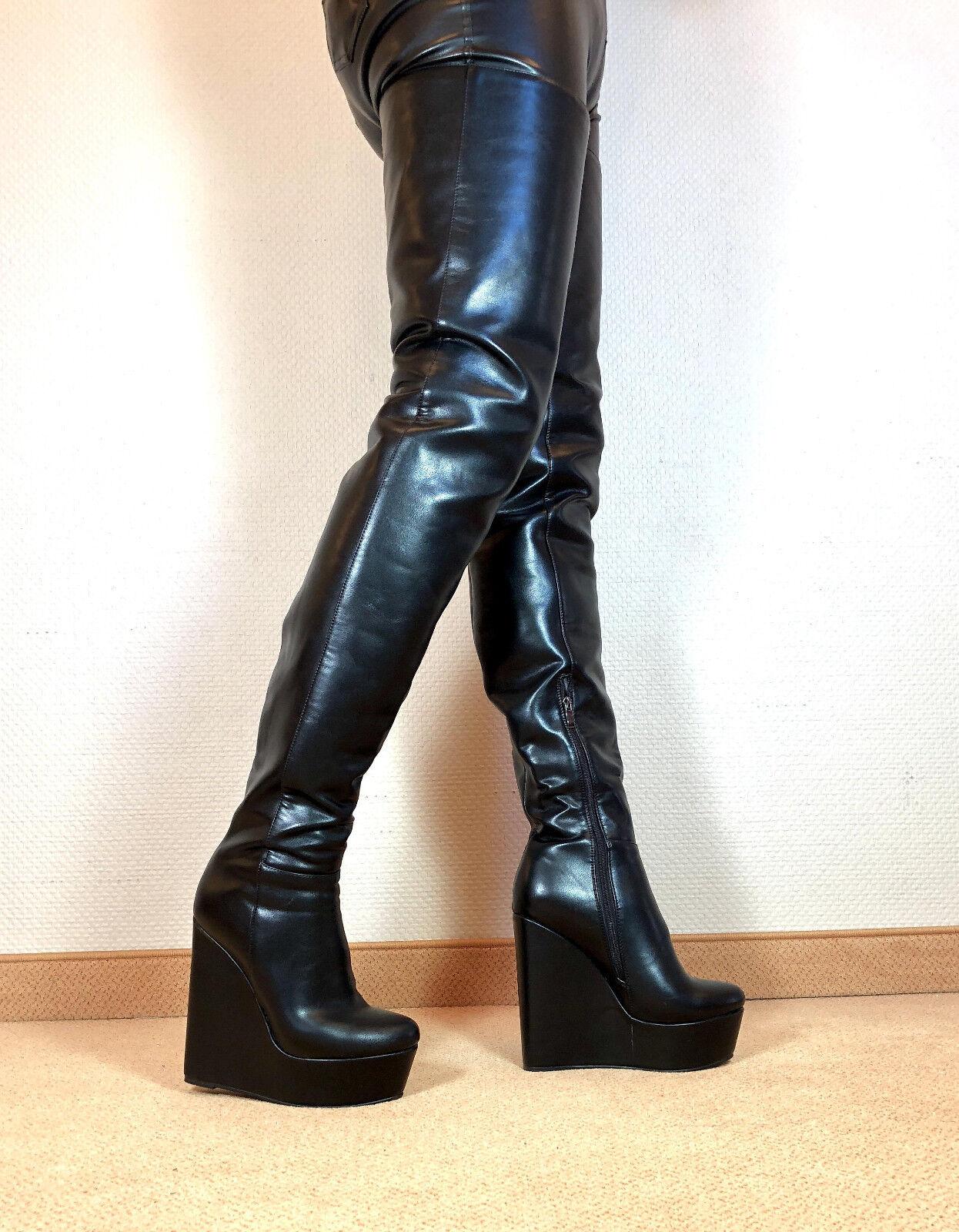 Gr.42 TOP   Exklusiv Sexy Damen Schuhe Overknee Wedges Stiefel Männer Stiefel F1