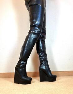 Gr-42-TOP-Exklusiv-Sexy-Damen-Schuhe-Overknee-Wedges-Stiefel-Maenner-Boots-F1
