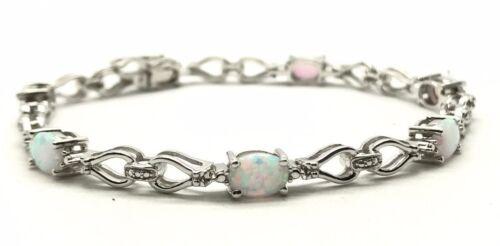 Diamond Link Pear Loop Tennis Bracelet Sterling Silver 925 White Opal Sparkle