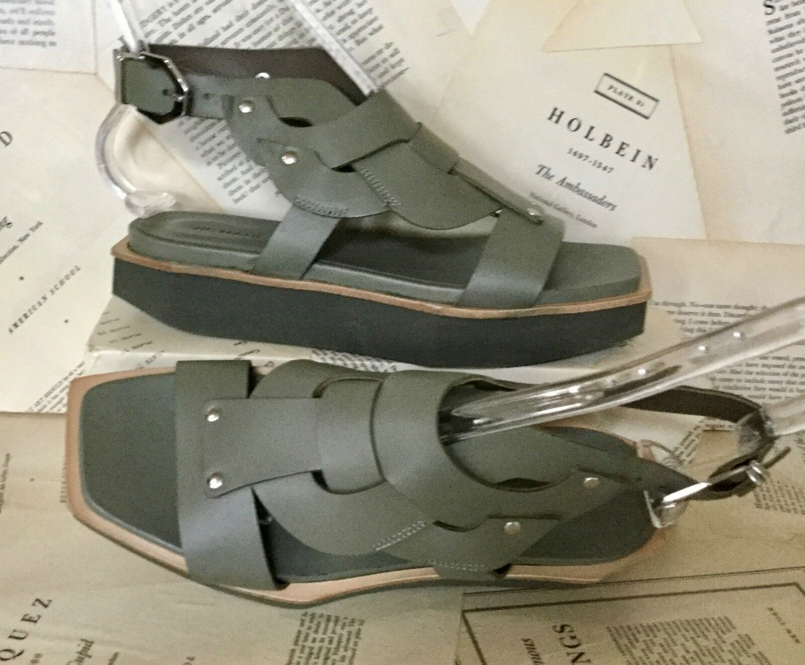 NEW Vic Vic Vic Matie olive Leather Flatform  Bought at Free People Sandal 39 8.5-9 ac2e32