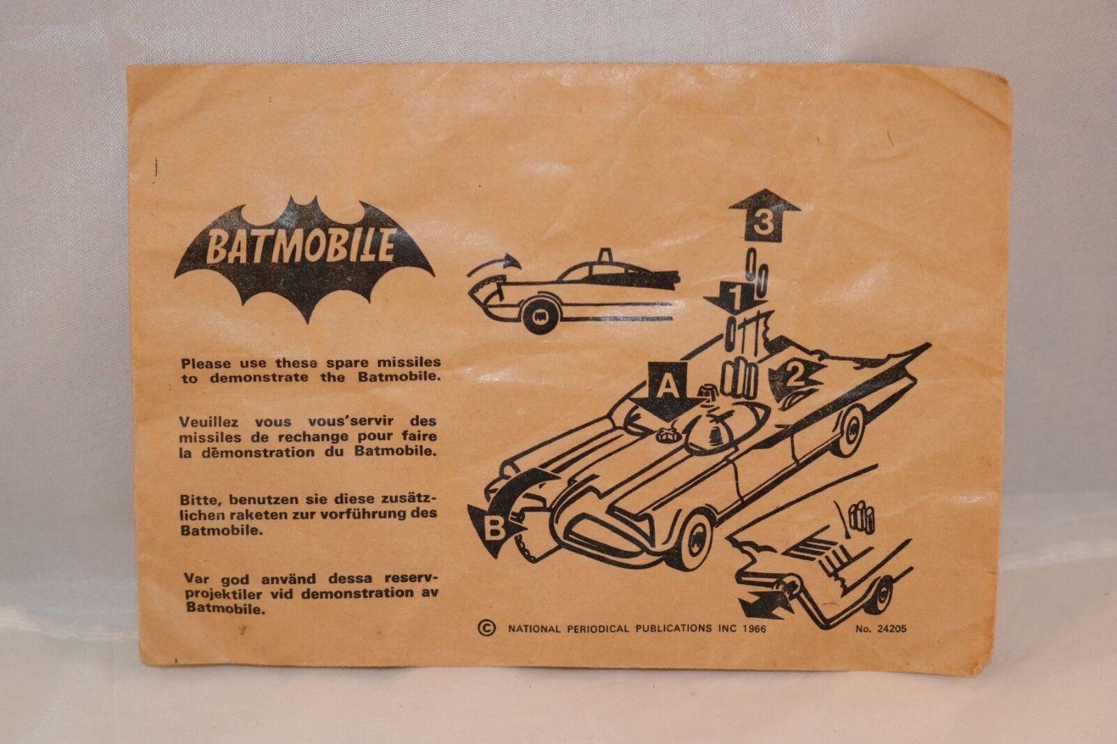 Corgi Toys Toys Toys 267 24205 empty envelope for Batmobile spare missiles very scarce. ec2fda