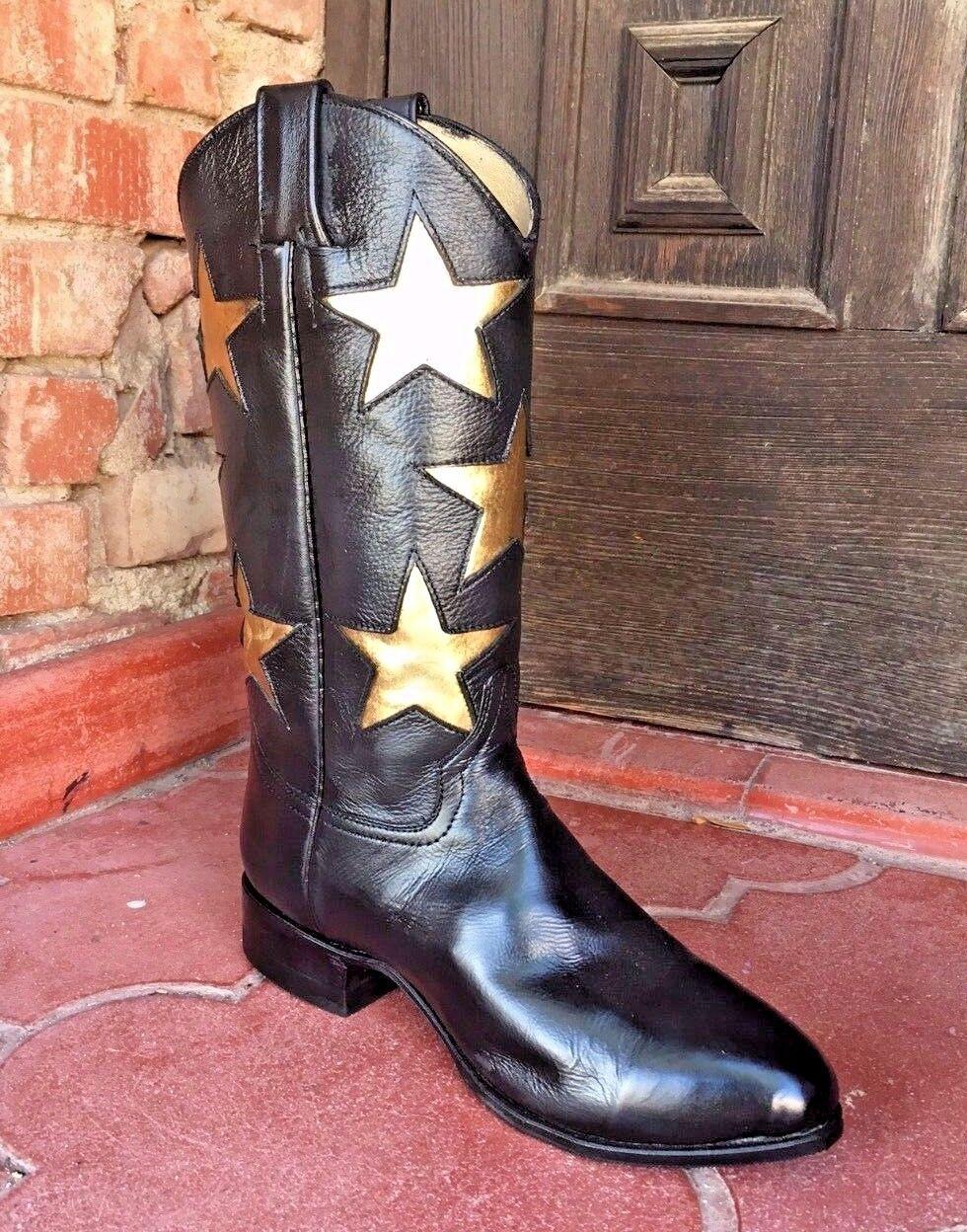 Lot of Black Gold Star Leather Cheerleader dance Cowboy Boots Ladies Flex sole