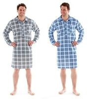 Men's Quilted Check Nightshirt, Long Sleeve Nighty Loungewear, Rzk04