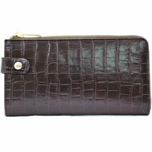 Portefeuille femme en cuir croco KATANA - chocolat - KAT-358203-02-Choco