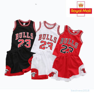 e9e49319b Kids Baby Boys 23 Basketball Jerseys Short Suits kits UK Girls 1-10 ...