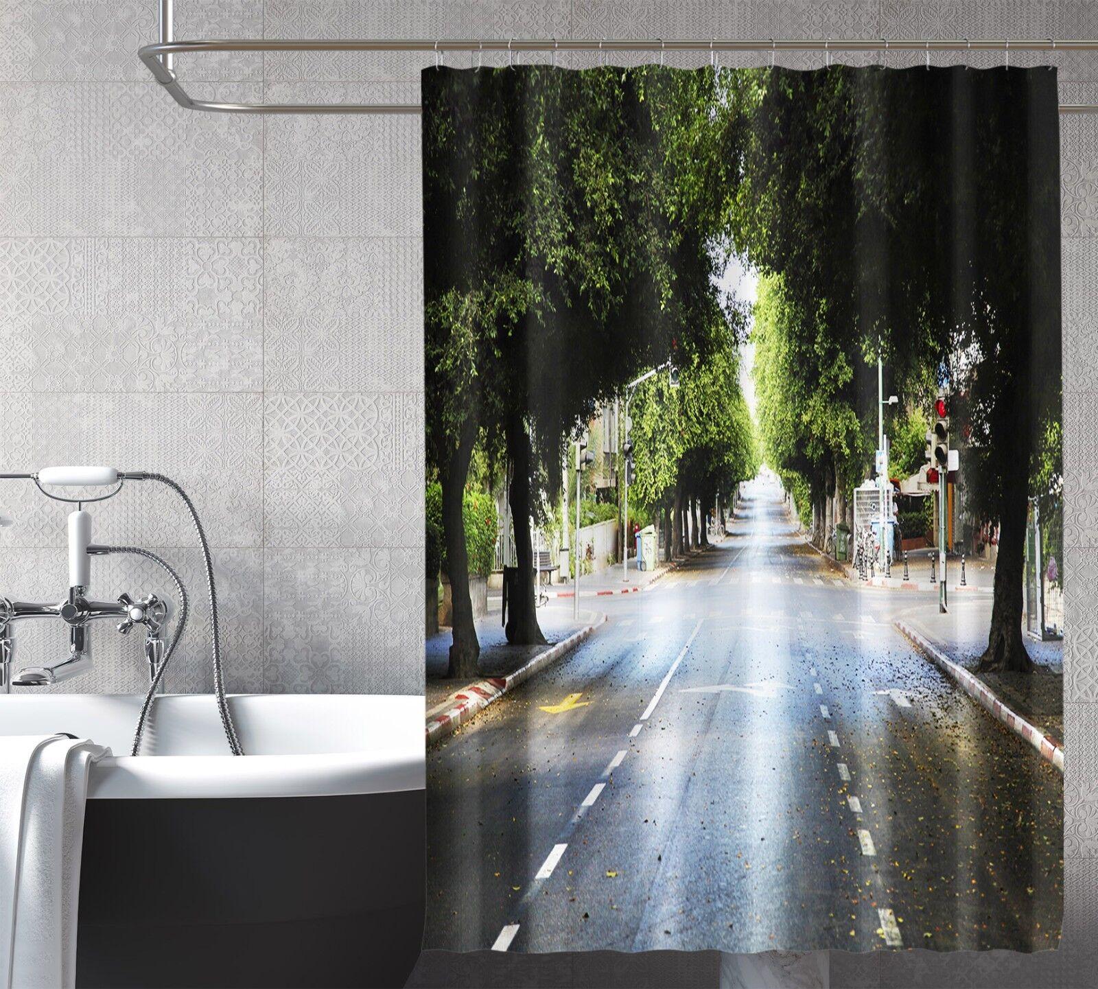 3D árbol de calle 26 Fibra de Cortina de Ducha Impermeable Baño Inodoro de Windows Home