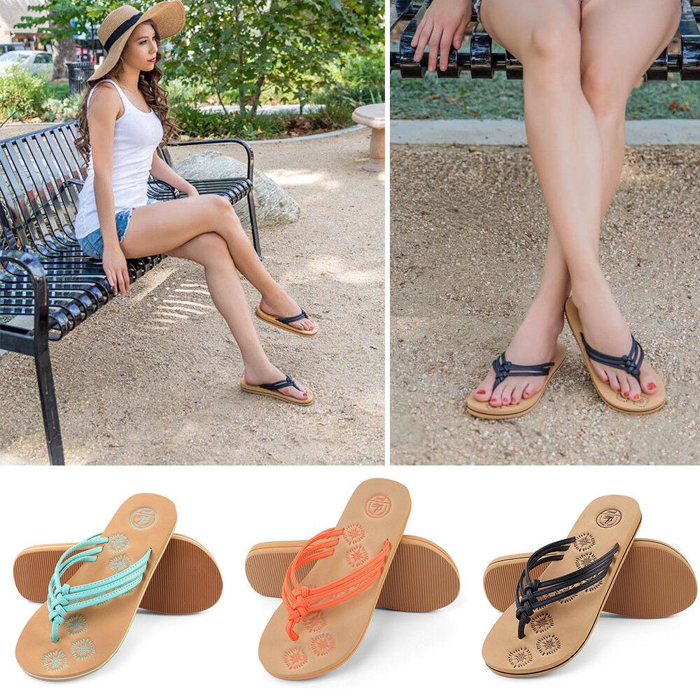 Aerusi Fashion Women Summer SlippersThong Flip Flops Flat Sandals Beach Beach Sandals Shoes US 0982df