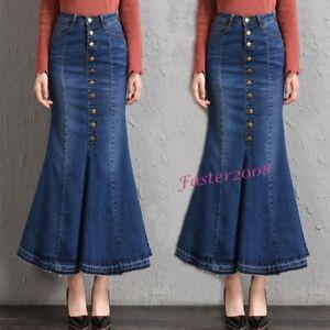 Women-039-s-Denim-High-Waist-Mermaid-Fishtail-Skirts-Long-Casual-A-Line-Jean-Skirts