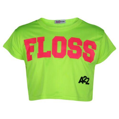 Kids Girls Neon Green Crop Top Designer Floss Stylish Fashion T Shirt Tops 5-13Y