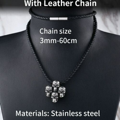 Details about  /316L stainless steel Four conjoined skull Pendant Necklace For Man And Woman