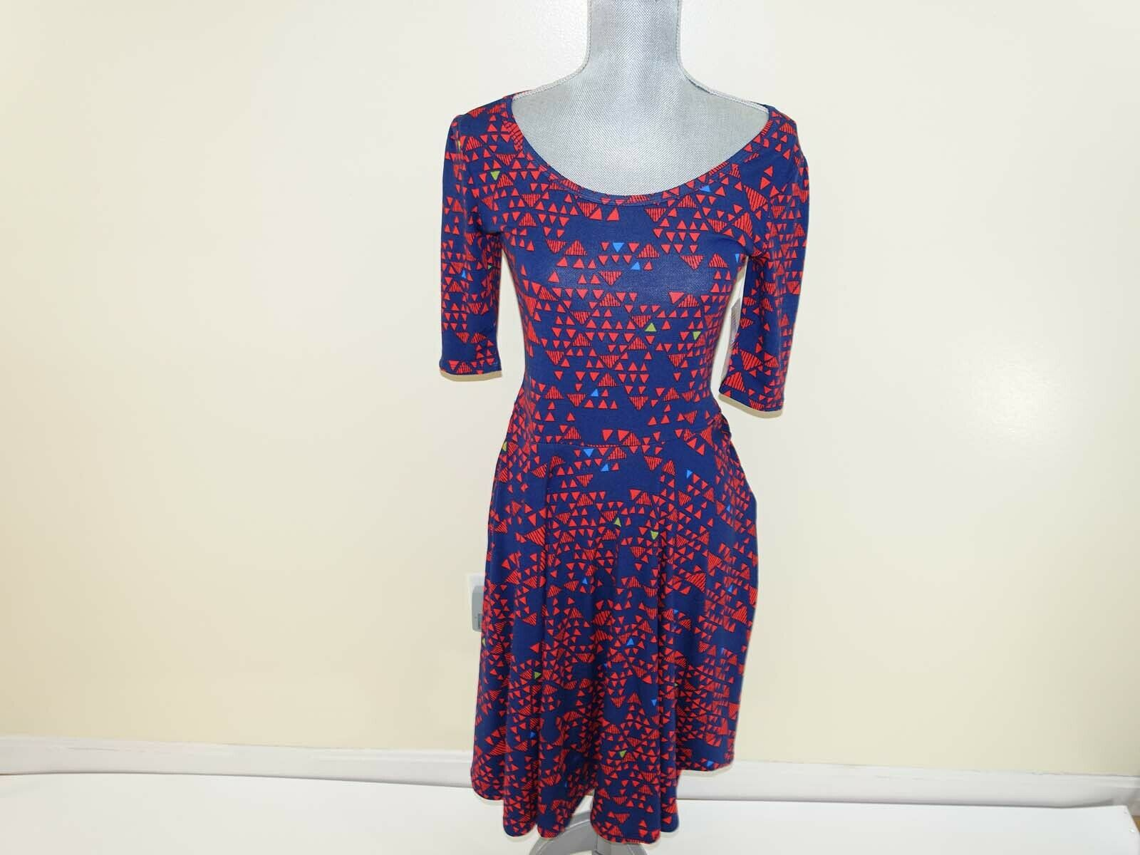 LuLaRoe Women's Nicole Fit & Flare Dress Small NWT Short Sleeves Navy bluee Red s