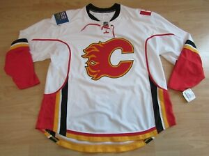 Authentic Calgary Flames Team Issued Pro Stock White Hockey Jersey ... 14a2c0af7