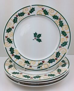 image is loading sets of 4 christmas dinner plates golden holly