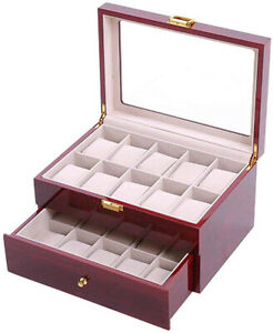 2-Layer-Wooden-Watch-Storage-Box-Organiser-2-Drawers-for-20-Watches-Red