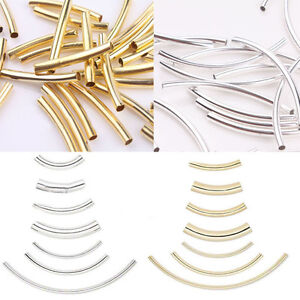 100 Pcs Silver Plated Smooth Curved Tube Elbow Spacer Beads DIY Jewelry Making
