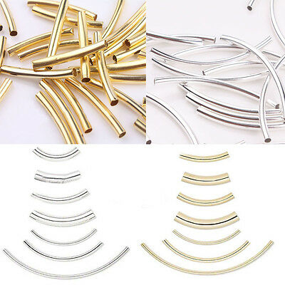 60pcs Curved Tube Spacer Loose Beads Jewellery Connectors Findings 2x30mm Gold