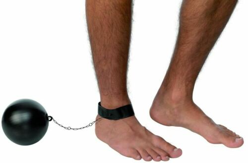 Smiffys Ball and Chain for Convicts and Stags Male Black