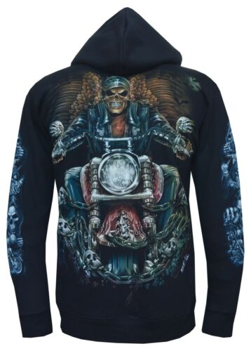 Grim Reaper Skull Motorbike Glow In The Dark Zip Zipped Hoodie Hoody Jacket