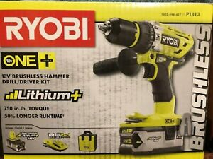 RYOBIONE+ 18V Lithium-Ion Cordless Brushless 1/2 in. Hammer Drill/Driver Kit
