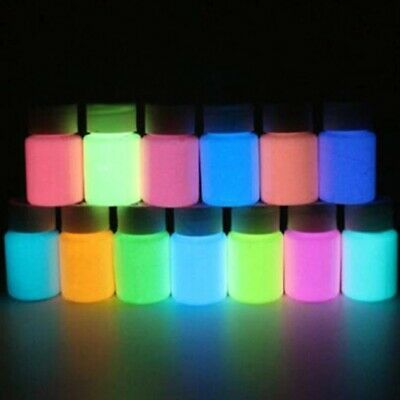 12 Colors 10g Eco Friendly Luminous Pigment Fluorescent Powder Glow In The Dark Ebay