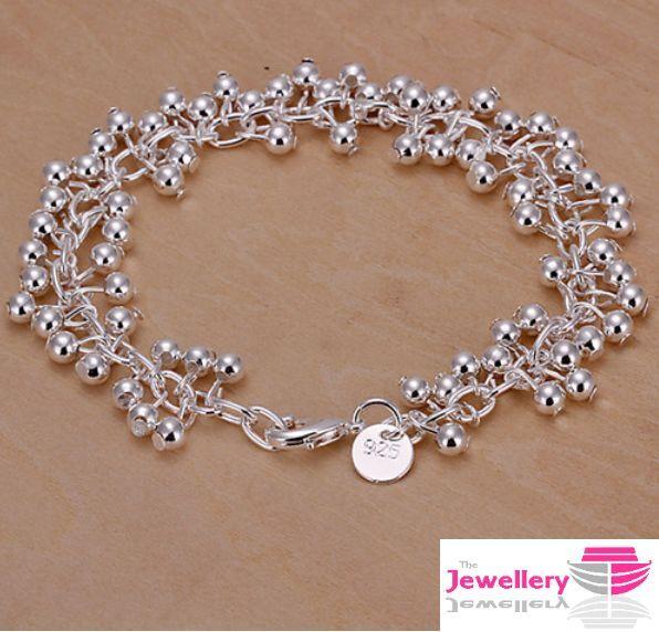 925 Sterling Silver Multi Ball Bracelet Jewellery Womens Las Gifts Ebay
