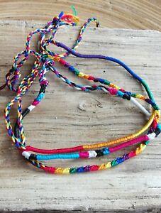 marque populaire nouveau style beau lustre Details about Woven Silk Friendship Bracelets And Anklet Wholesale Lot of 3  Thin Round String