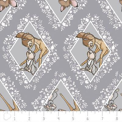 Bambi Tissu Fat Quarter Cotton Craft Quilting GRIS DIAMANTS-Disney Licensed