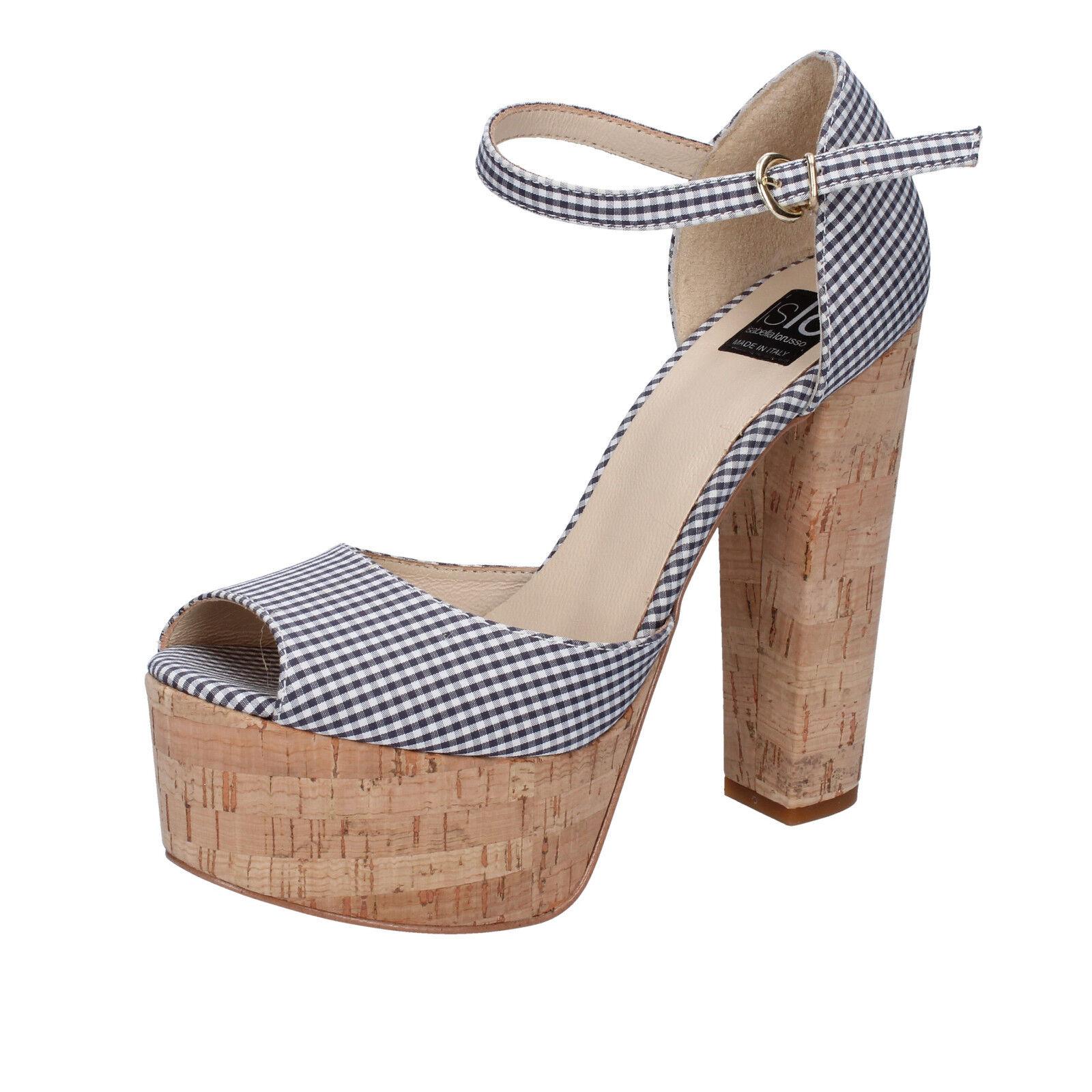 Scarpe donna ISLO ISABELLA LORUSSO 40 EU sandali nero bianco tessuto BZ223-F
