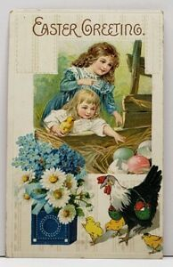 Easter-Greetings-Girls-Reaching-For-Eggs-Pretty-Flowers-Embossed-Postcard-G12