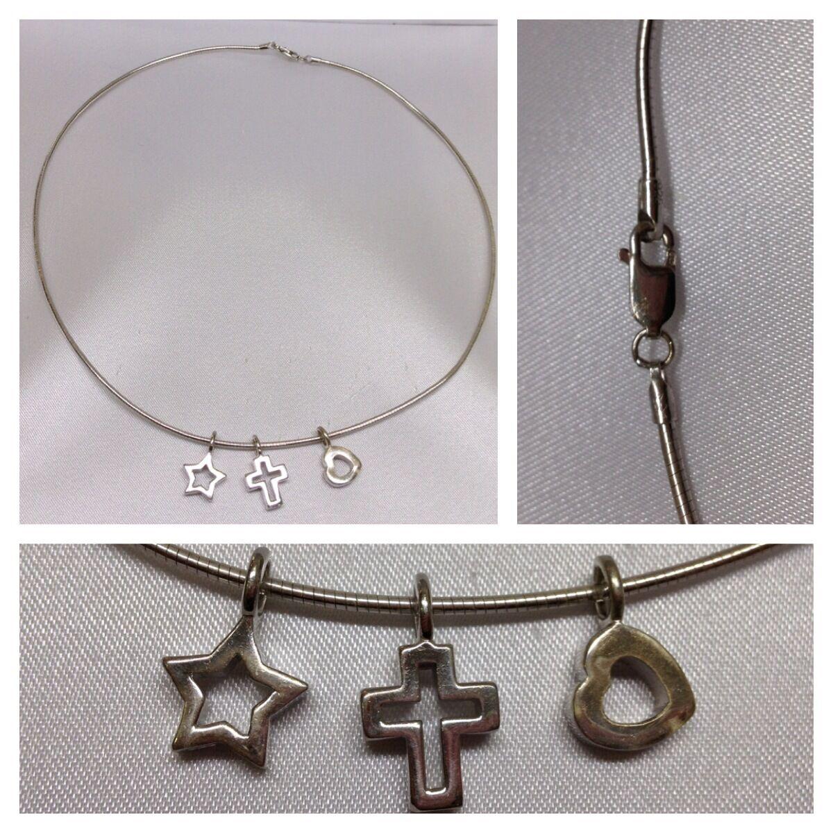 Collar cadena de silver 925 colgante Corazón Estrella Cruz