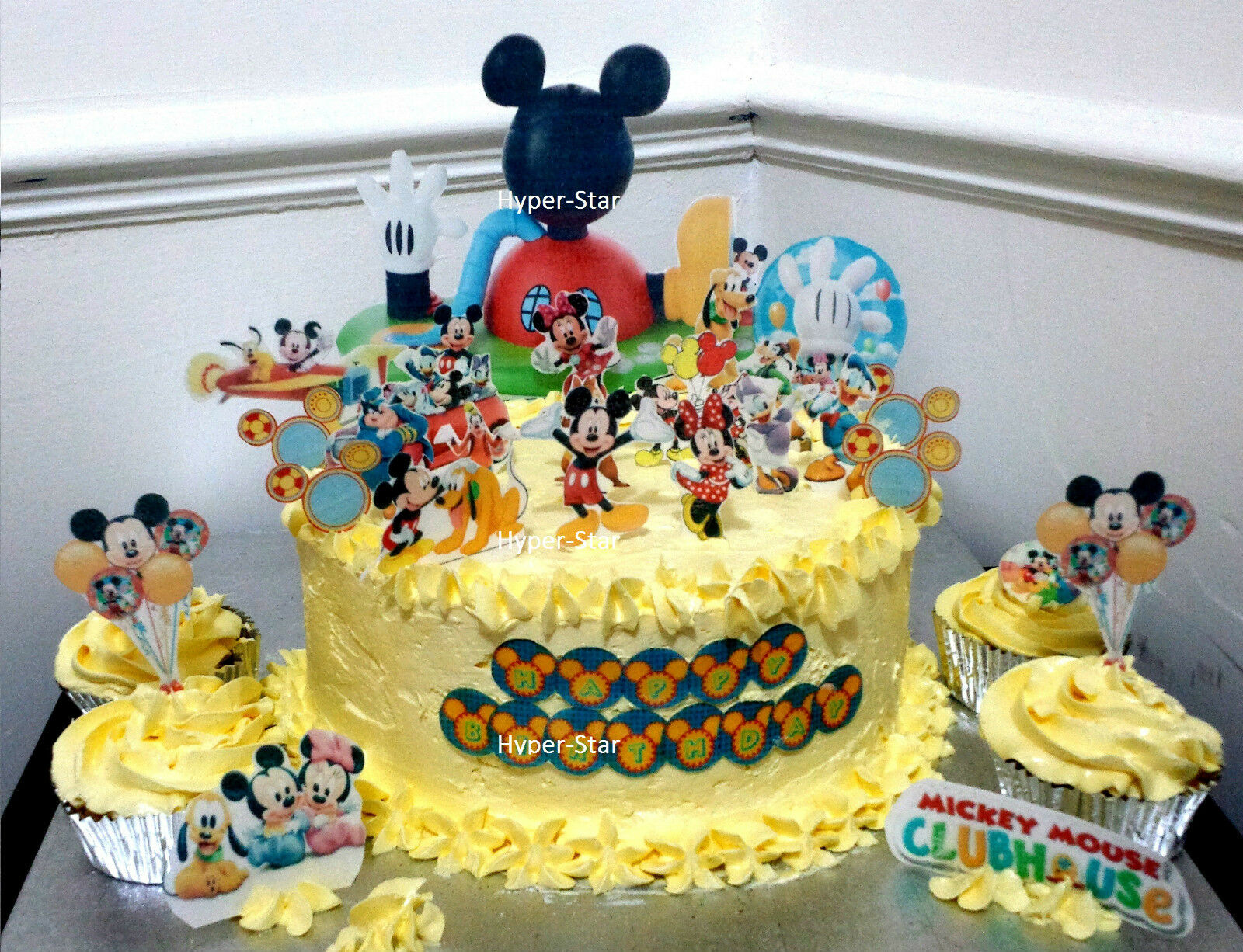 Superb Mickey Mouse Club House Cup Cake Standup Scene Topper Wafer Edible Funny Birthday Cards Online Overcheapnameinfo