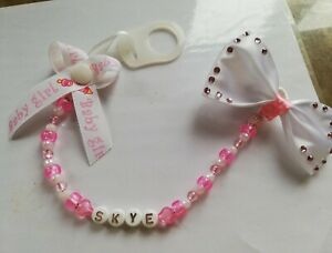small bow} Girls Dummy Clips Pacifier Holder {baby pink polka dots