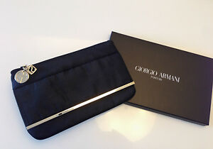 008a7d84aa77 Image is loading Giorgio-Armani-Parfums-Black-Elegant-Pouch-Clutch-Evening-