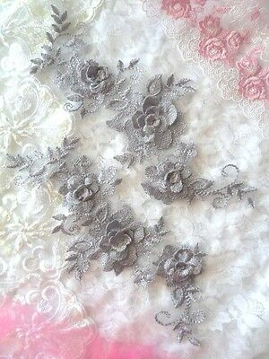 """DH65 DIY 3D Lace Appliques Purple Floral Embroidered Mirror Pair 10.5/"""" Sew on"""