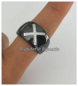 Bague-Large-Ceramique-Noir-T58-CROIX-Zirconium-Argent-Massif-925-1000-Bijoux